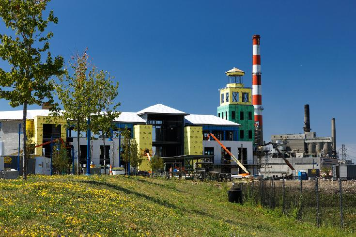Summer on the Harbor:  Construction, Power Plant, Rendering Plant, Dandelions by Lawrence Russ